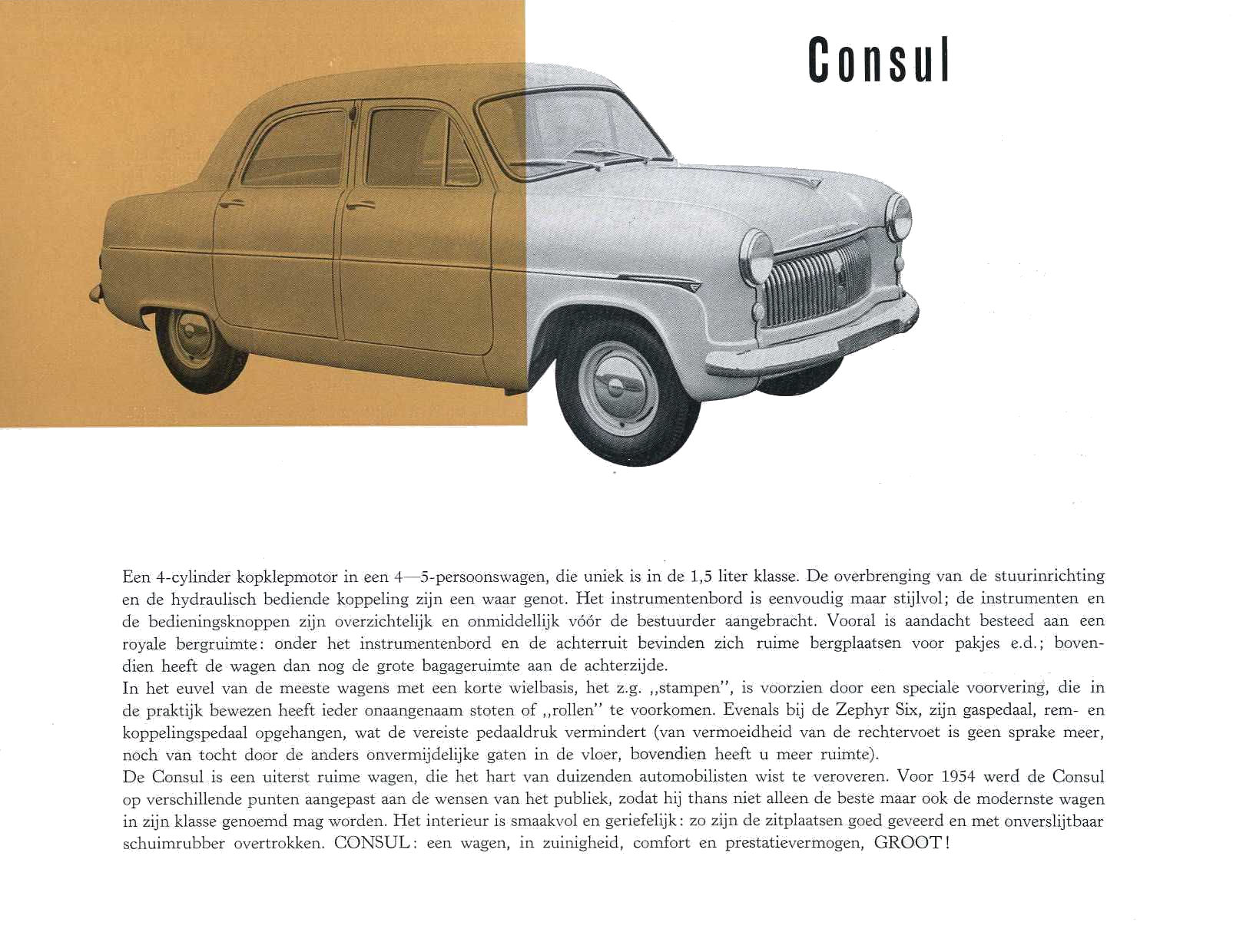 1954 ford consul zephyr 6 brochure for What was a consul