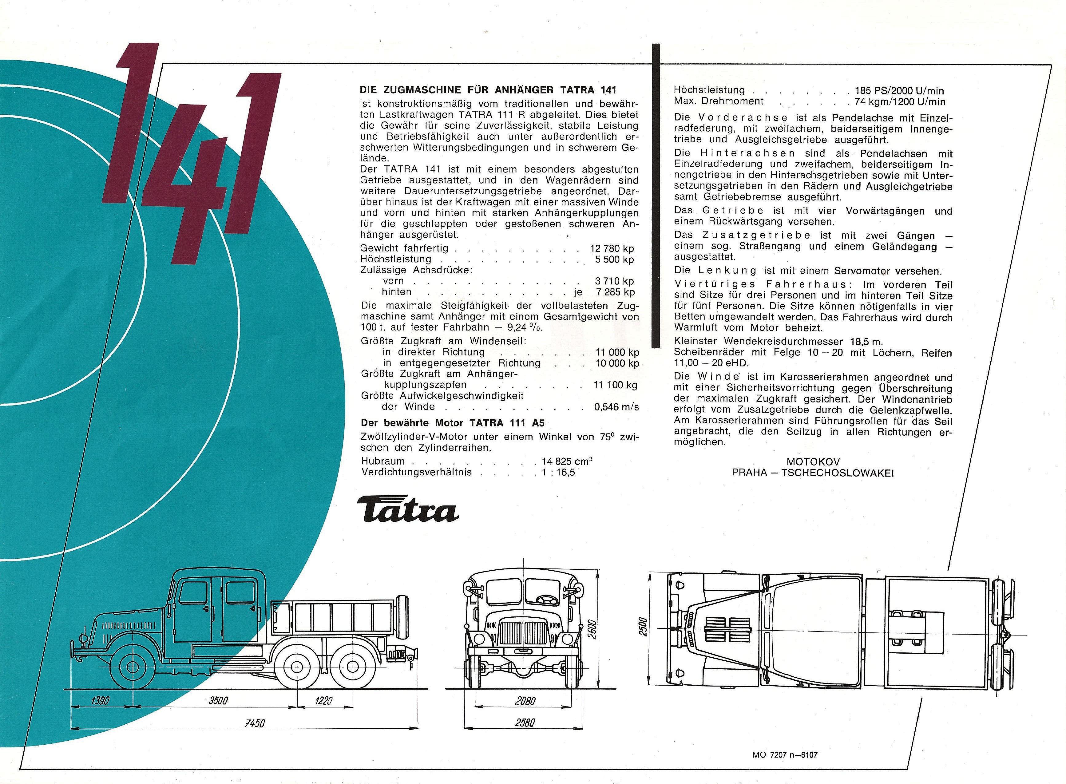 Truck And Car >> 1957-70 Tatra 141 brochure